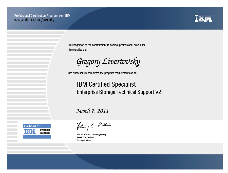 IBM Certified Specialist Enterprise Storage Technical Support V2